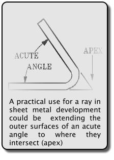A practical use for a ray in sheet metal development could be  extending the outer surfaces of an acute angle to where they intersect (apex)